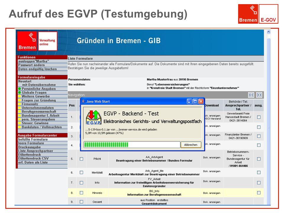 E-GOV Aufruf des EGVP (Testumgebung)