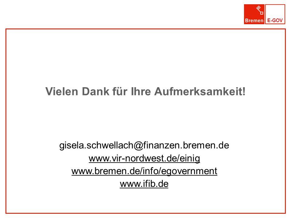 E-GOV Vielen Dank für Ihre Aufmerksamkeit! gisela.schwellach@finanzen.bremen.de www.vir-nordwest.de/einig www.bremen.de/info/egovernment www.ifib.de
