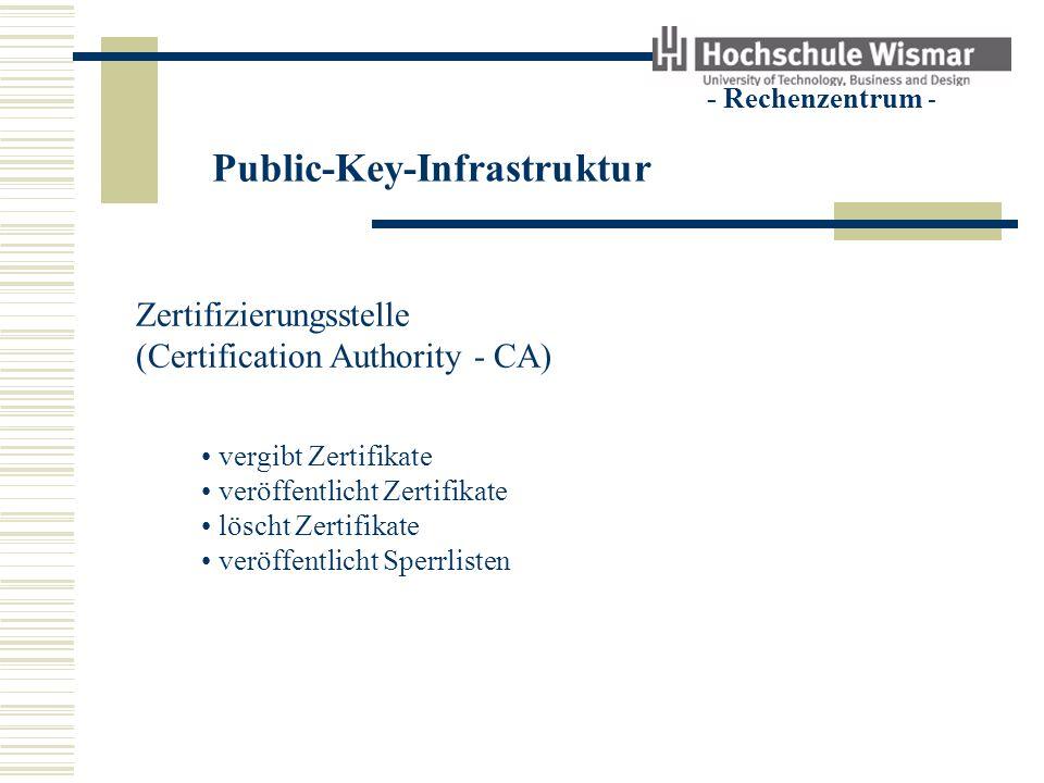 Public-Key-Infrastruktur - Rechenzentrum - Zertifizierungsstelle (Certification Authority - CA) vergibt Zertifikate Ein Zertifikat enthält den öffentlichen Schlüssel Angaben zum Besitzer eine Signatur der CA