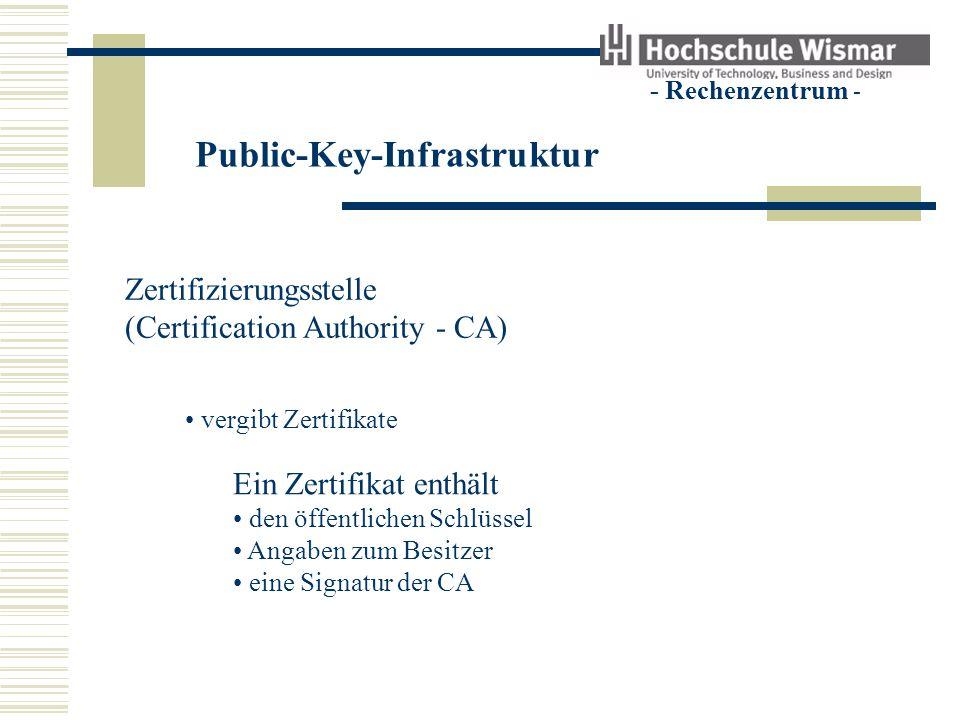 Public-Key-Infrastruktur - Rechenzentrum - Zertifizierungsstelle (Certification Authority - CA) vergibt Zertifikate Ein Zertifikat enthält den öffentl