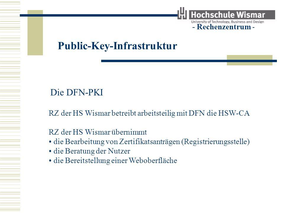 Public-Key-Infrastruktur - Rechenzentrum - Die DFN-PKI RZ der HS Wismar betreibt arbeitsteilig mit DFN die HSW-CA RZ der HS Wismar übernimmt die Bearb