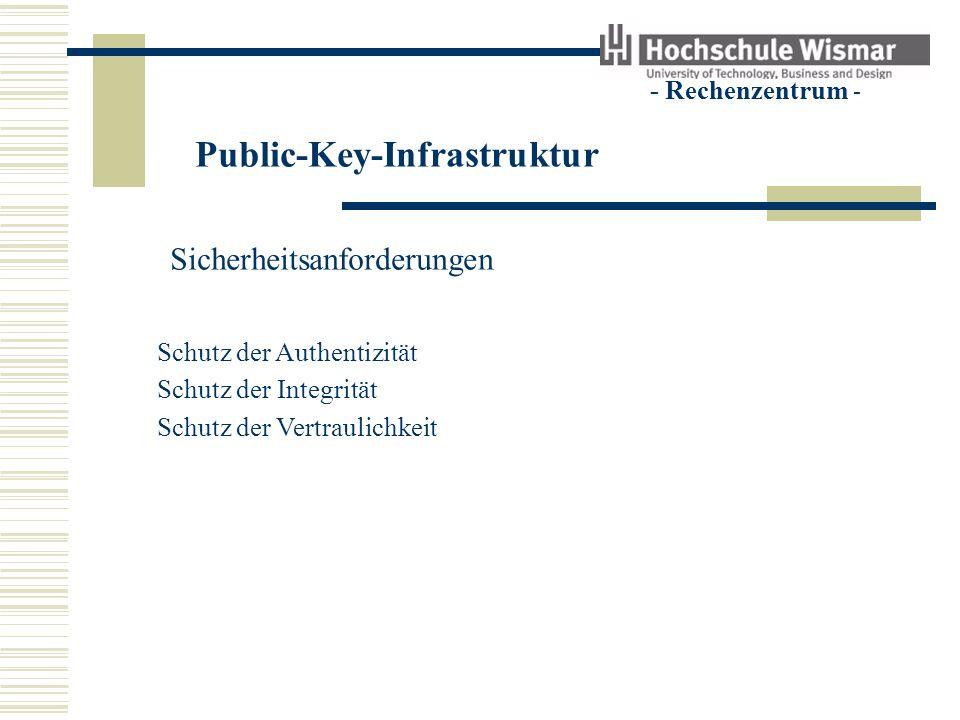 Public-Key-Infrastruktur - Rechenzentrum - Sicherheitsanforderungen Schutz der Vertraulichkeit Schutz der Authentizität Schutz der Integrität Welche Prozesse an der HS Wismar müssen diesen Sicherheitsanforderung genügen ?
