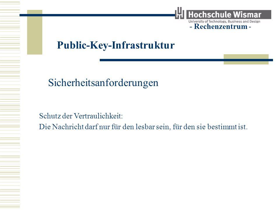 Public-Key-Infrastruktur - Rechenzentrum - Sicherheitsanforderungen Schutz der Vertraulichkeit Schutz der Authentizität Schutz der Integrität Durch Signieren und Verschlüsseln !