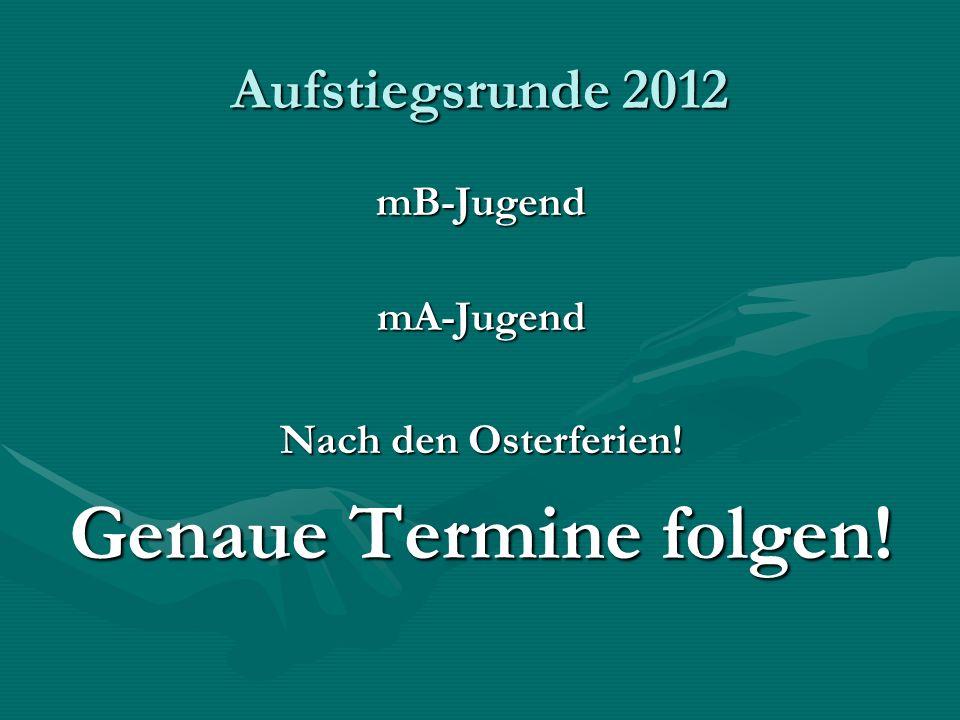 Aufstiegsrunde 2012 mB-JugendmA-Jugend Nach den Osterferien! Genaue Termine folgen!