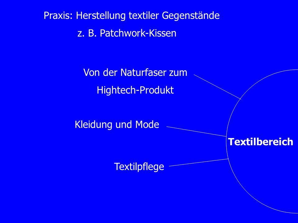 Textilbereich Kleidung und Mode Praxis: Herstellung textiler Gegenstände z. B. Patchwork-Kissen Von der Naturfaser zum Hightech-Produkt Textilpflege