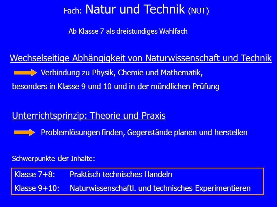 Ab Klasse 7 als dreistündiges Wahlfach Wechselseitige Abhängigkeit von Naturwissenschaft und Technik Verbindung zu Physik, Chemie und Mathematik, beso