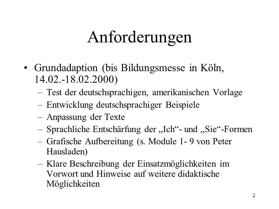 2 Anforderungen Grundadaption (bis Bildungsmesse in Köln, 14.02.-18.02.2000) –Test der deutschsprachigen, amerikanischen Vorlage –Entwicklung deutschs