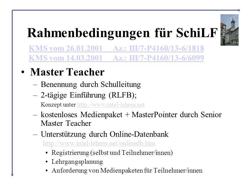 Rahmenbedingungen für SchiLF Master Teacher –Benennung durch Schulleitung –2-tägige Einführung (RLFB); Konzept unter http://www.intel-lehren.nethttp://www.intel-lehren.net –kostenloses Medienpaket + MasterPointer durch Senior Master Teacher –Unterstützung durch Online-Datenbank http://www.intel-lehren.net/onlinedb.htm http://www.intel-lehren.net/onlinedb.htm Registrierung (selbst und Teilnehmer/innen) Lehrgangsplanung Anforderung von Medienpaketen für Teilnehmer/innen KMS vom 26.01.2001 Az.: III/7-P4160/13-6/1818 KMS vom 14.03.2001 Az.: III/7-P4160/13-6/6099