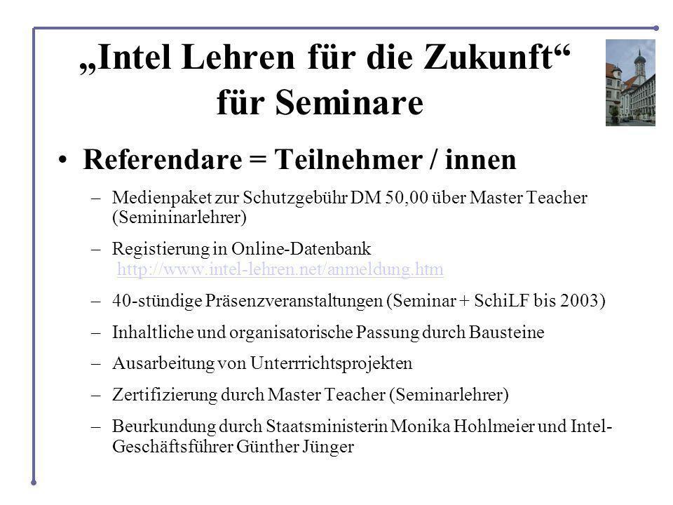 Intel Lehren für die Zukunft für Seminare Referendare = Teilnehmer / innen –Medienpaket zur Schutzgebühr DM 50,00 über Master Teacher (Semininarlehrer) –Registierung in Online-Datenbank http://www.intel-lehren.net/anmeldung.htmhttp://www.intel-lehren.net/anmeldung.htm –40-stündige Präsenzveranstaltungen (Seminar + SchiLF bis 2003) –Inhaltliche und organisatorische Passung durch Bausteine –Ausarbeitung von Unterrrichtsprojekten –Zertifizierung durch Master Teacher (Seminarlehrer) –Beurkundung durch Staatsministerin Monika Hohlmeier und Intel- Geschäftsführer Günther Jünger
