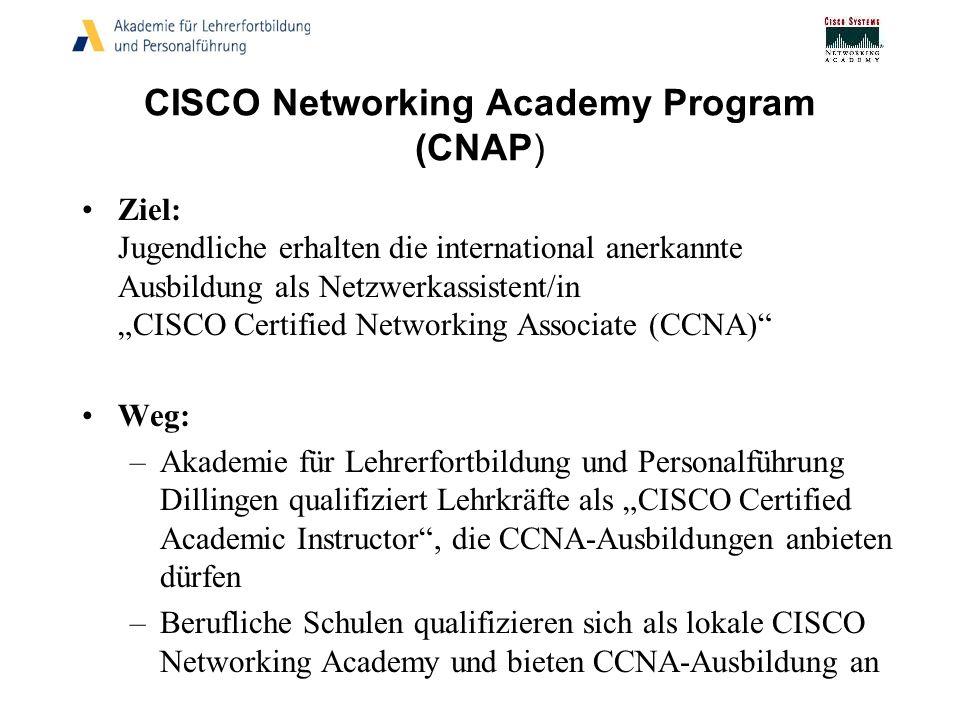 CISCO Networking Academy Program (CNAP) Ziel: Jugendliche erhalten die international anerkannte Ausbildung als Netzwerkassistent/in CISCO Certified Ne