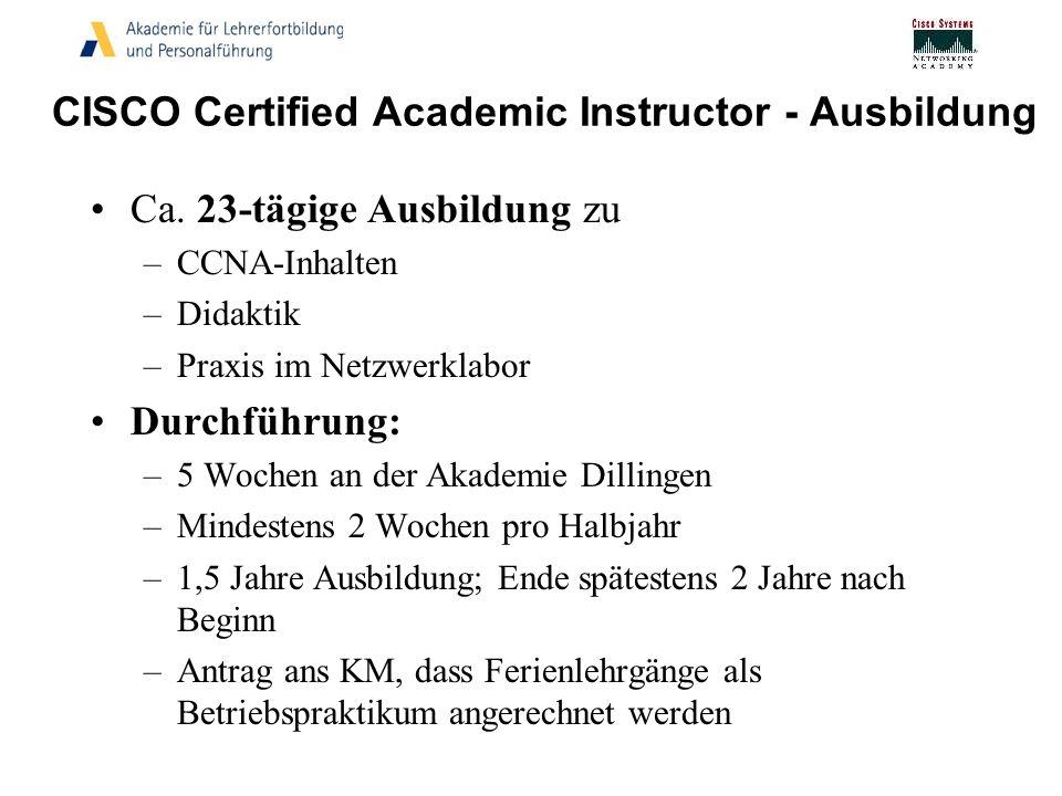 CISCO Certified Academic Instructor - Ausbildung Ca. 23-tägige Ausbildung zu –CCNA-Inhalten –Didaktik –Praxis im Netzwerklabor Durchführung: –5 Wochen