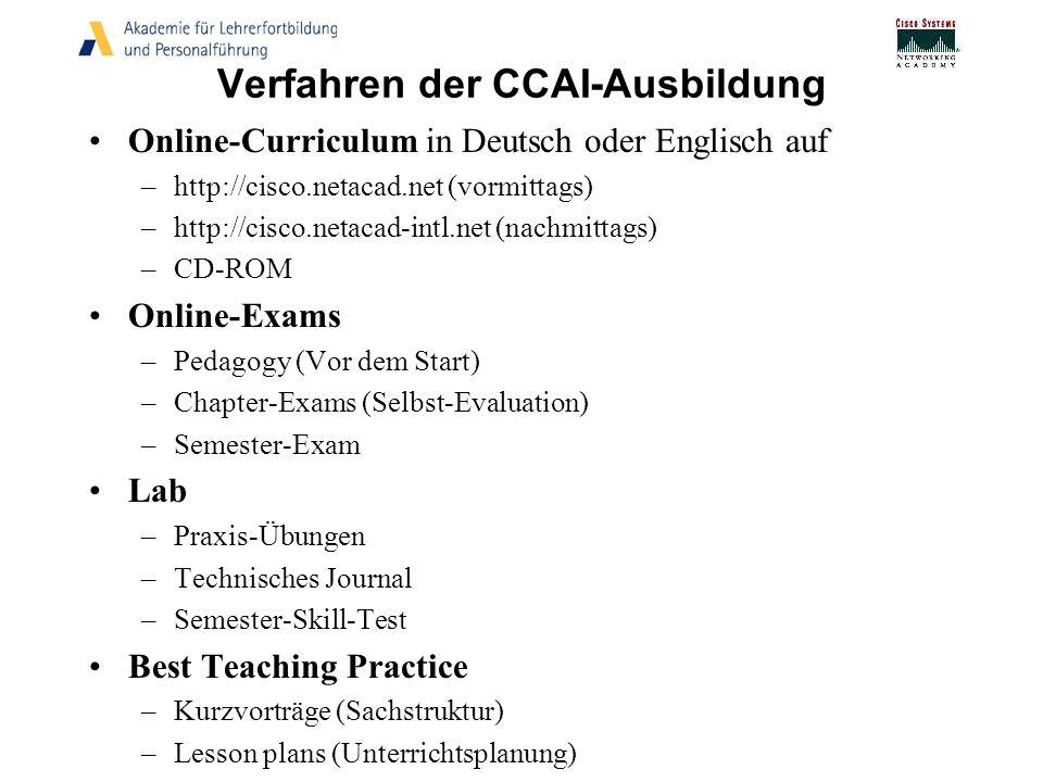 Verfahren der CCAI-Ausbildung Online-Curriculum in Deutsch oder Englisch auf –http://cisco.netacad.net (vormittags) –http://cisco.netacad-intl.net (na
