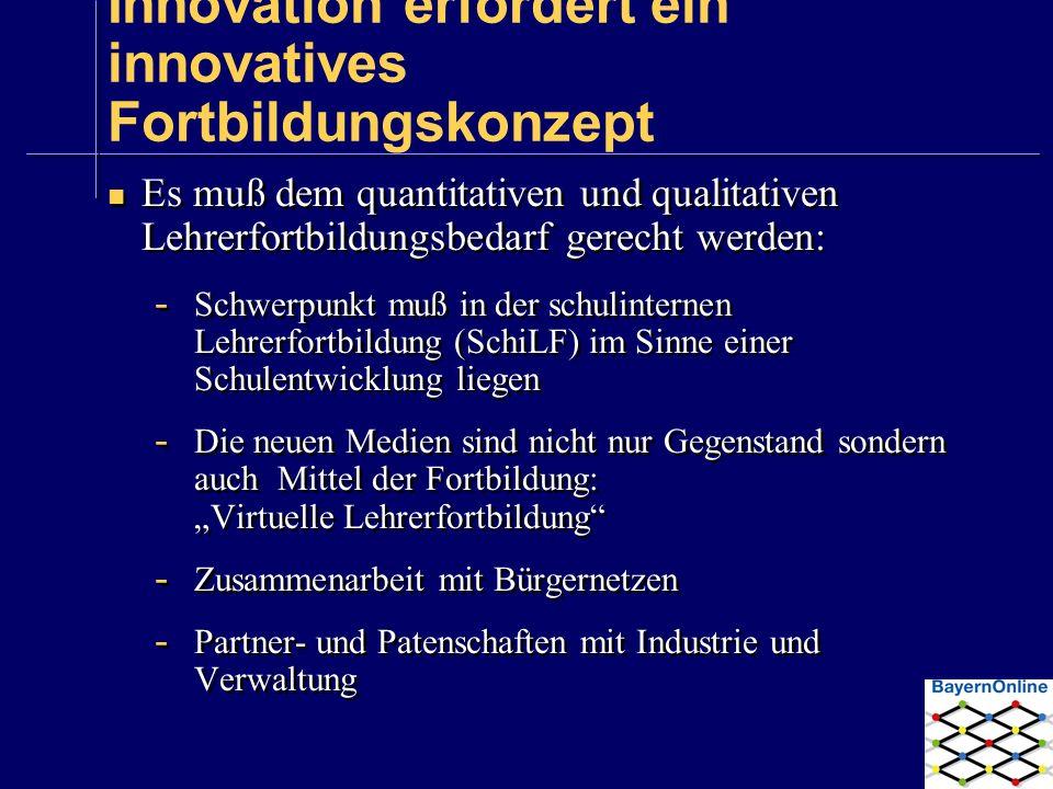 Innovation erfordert ein innovatives Fortbildungskonzept Es muß dem quantitativen und qualitativen Lehrerfortbildungsbedarf gerecht werden: - Schwerpu