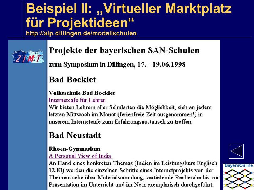 Beispiel II: Virtueller Marktplatz für Projektideen http://alp.dillingen.de/modellschulen