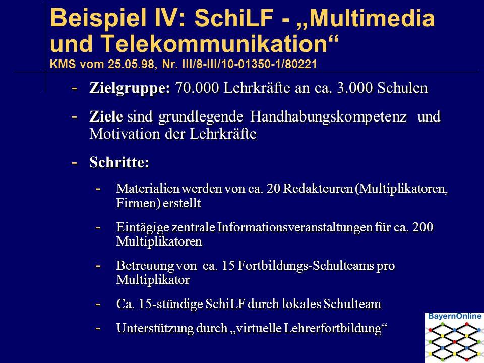 Beispiel IV: SchiLF - Multimedia und Telekommunikation KMS vom 25.05.98, Nr. III/8-III/10-01350-1/80221 - Zielgruppe: 70.000 Lehrkräfte an ca. 3.000 S