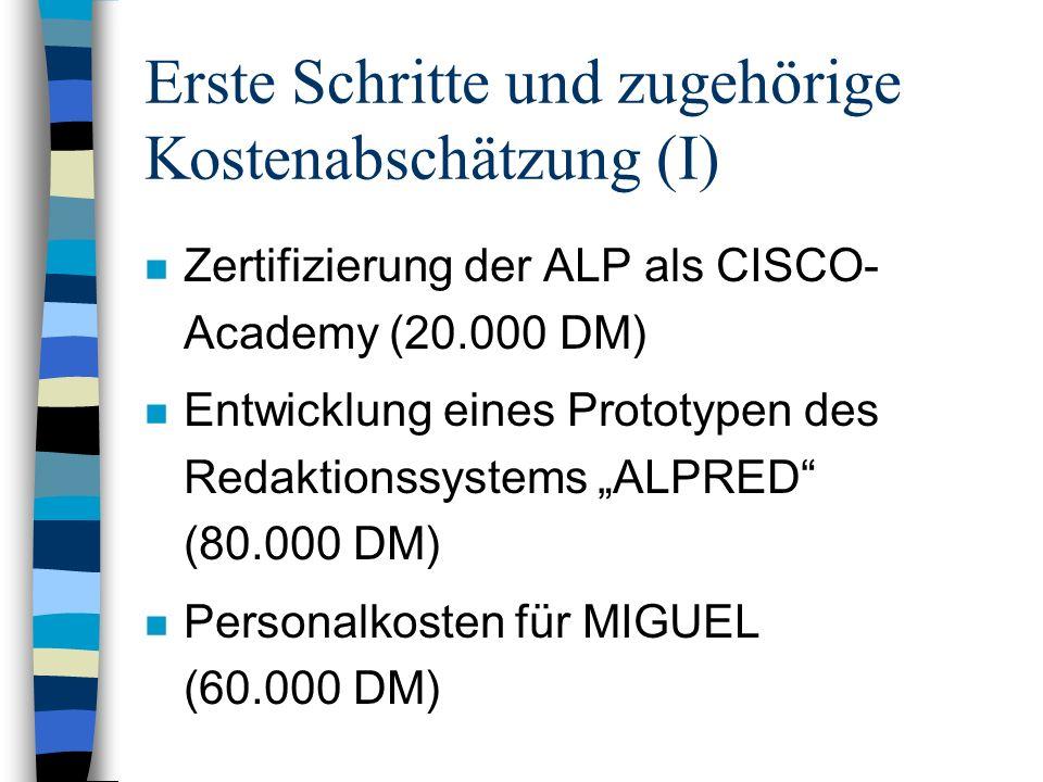 Erste Schritte und zugehörige Kostenabschätzung (I) n Zertifizierung der ALP als CISCO- Academy (20.000 DM) n Entwicklung eines Prototypen des Redaktionssystems ALPRED (80.000 DM) n Personalkosten für MIGUEL (60.000 DM)