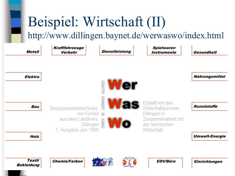 Beispiel: Wirtschaft (II) http://www.dillingen.baynet.de/werwaswo/index.html