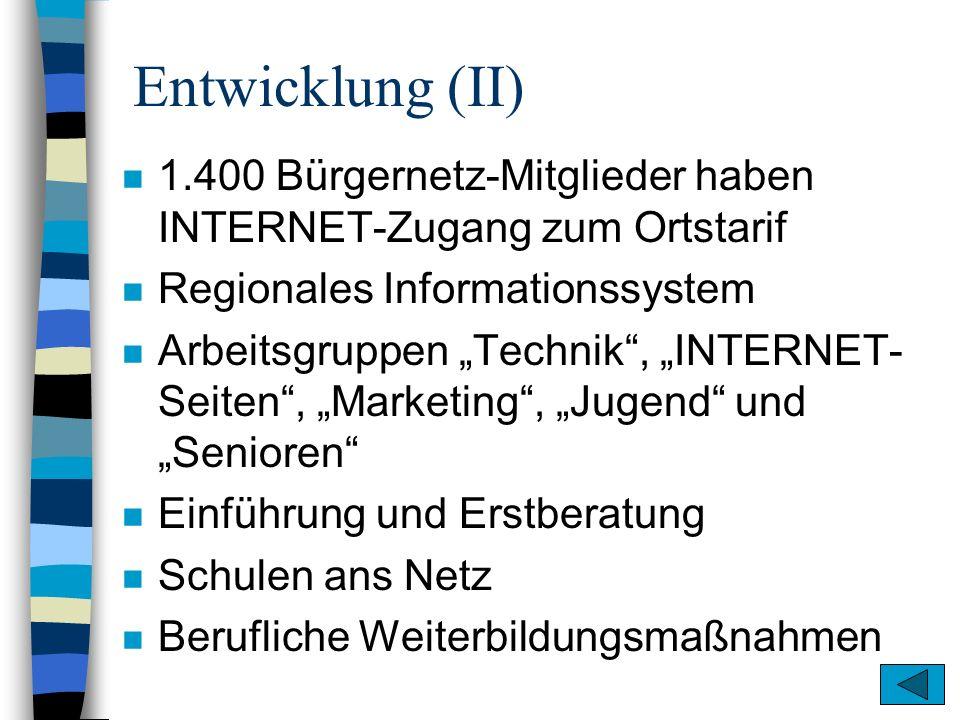 Entwicklung (II) n 1.400 Bürgernetz-Mitglieder haben INTERNET-Zugang zum Ortstarif n Regionales Informationssystem n Arbeitsgruppen Technik, INTERNET-