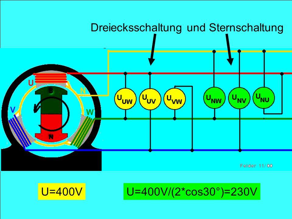 U=400VU=400V/(2*cos30°)=230V Dreiecksschaltung und Sternschaltung