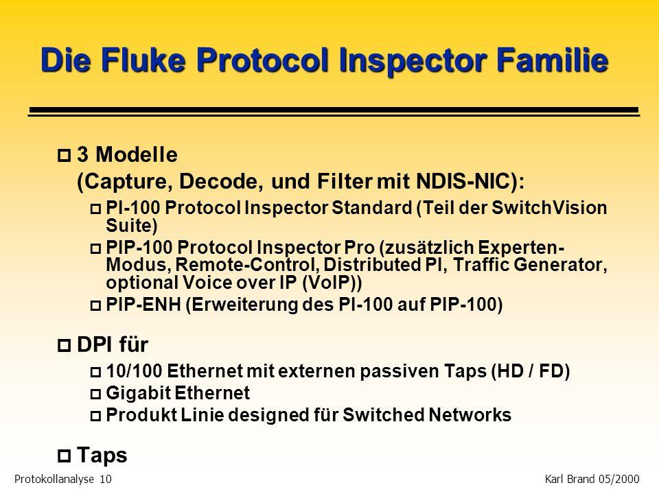 Protokollanalyse 10 Karl Brand 05/2000 Die Fluke Protocol Inspector Familie p 3 Modelle (Capture, Decode, und Filter mit NDIS-NIC): p PI-100 Protocol