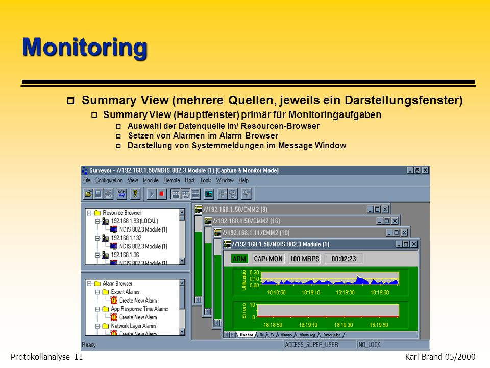 Protokollanalyse 11 Karl Brand 05/2000 Monitoring p Summary View (mehrere Quellen, jeweils ein Darstellungsfenster) p Summary View (Hauptfenster) prim