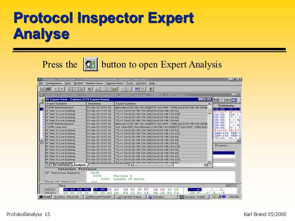 Protokollanalyse 15 Karl Brand 05/2000 Protocol Inspector Expert Analyse Press the button to open Expert Analysis