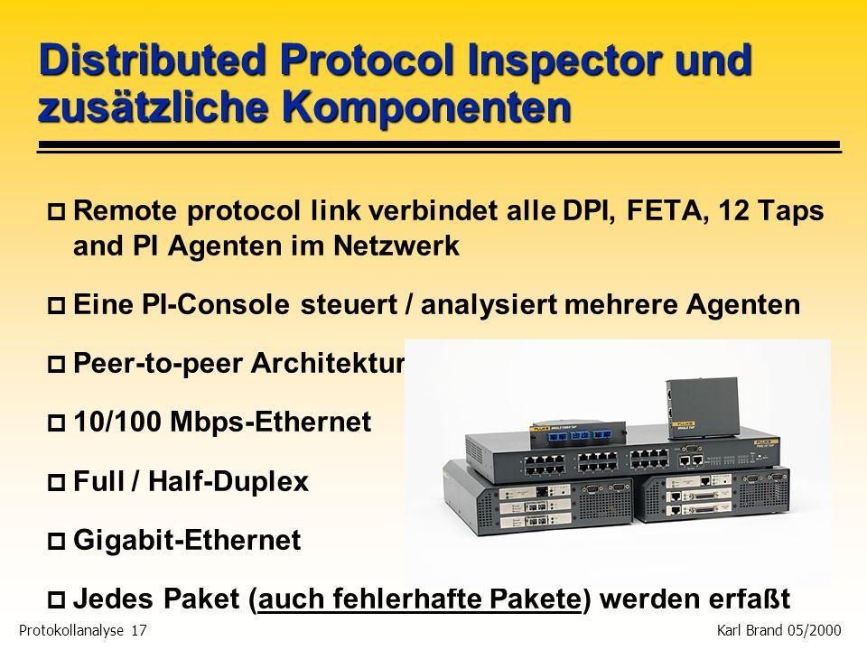 Protokollanalyse 17 Karl Brand 05/2000 Distributed Protocol Inspector und zusätzliche Komponenten p Remote protocol link verbindet alle DPI, FETA, 12