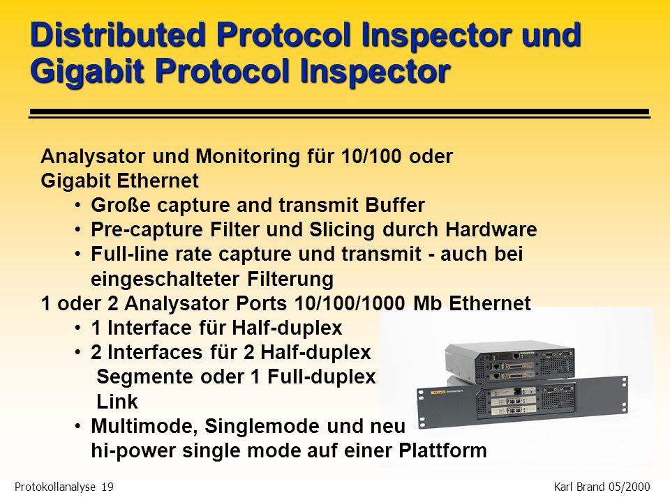 Protokollanalyse 19 Karl Brand 05/2000 Analysator und Monitoring für 10/100 oder Gigabit Ethernet Große capture and transmit Buffer Pre-capture Filter