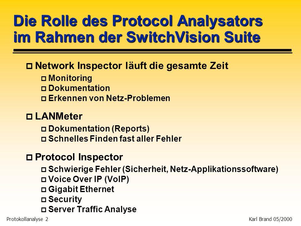 Protokollanalyse 2 Karl Brand 05/2000 Die Rolle des Protocol Analysators im Rahmen der SwitchVision Suite p Network Inspector läuft die gesamte Zeit p