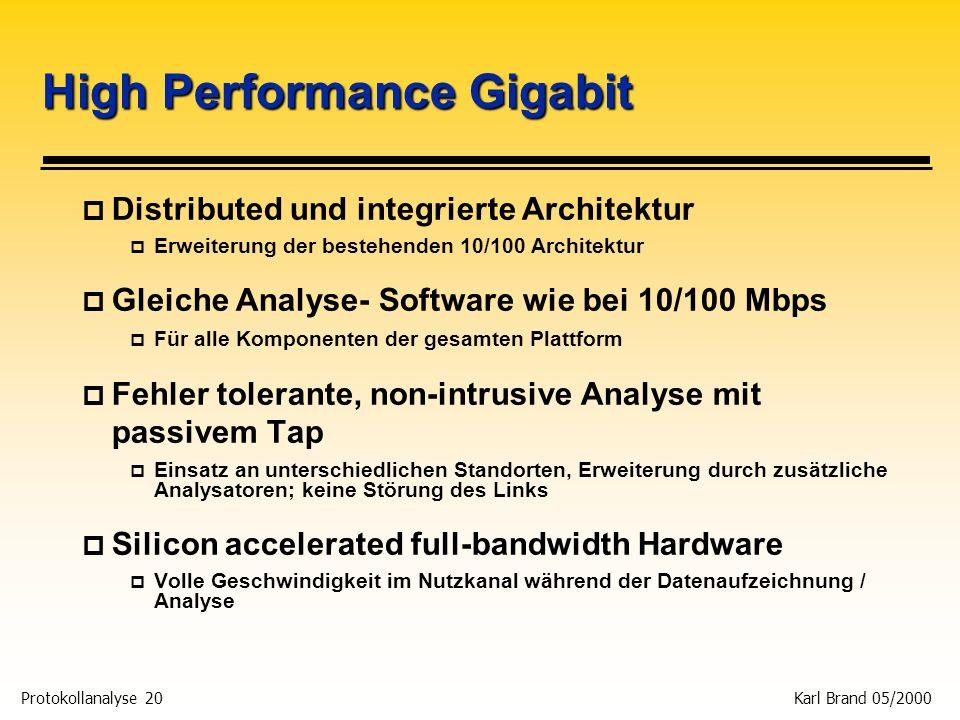 Protokollanalyse 20 Karl Brand 05/2000 High Performance Gigabit p Distributed und integrierte Architektur p Erweiterung der bestehenden 10/100 Archite