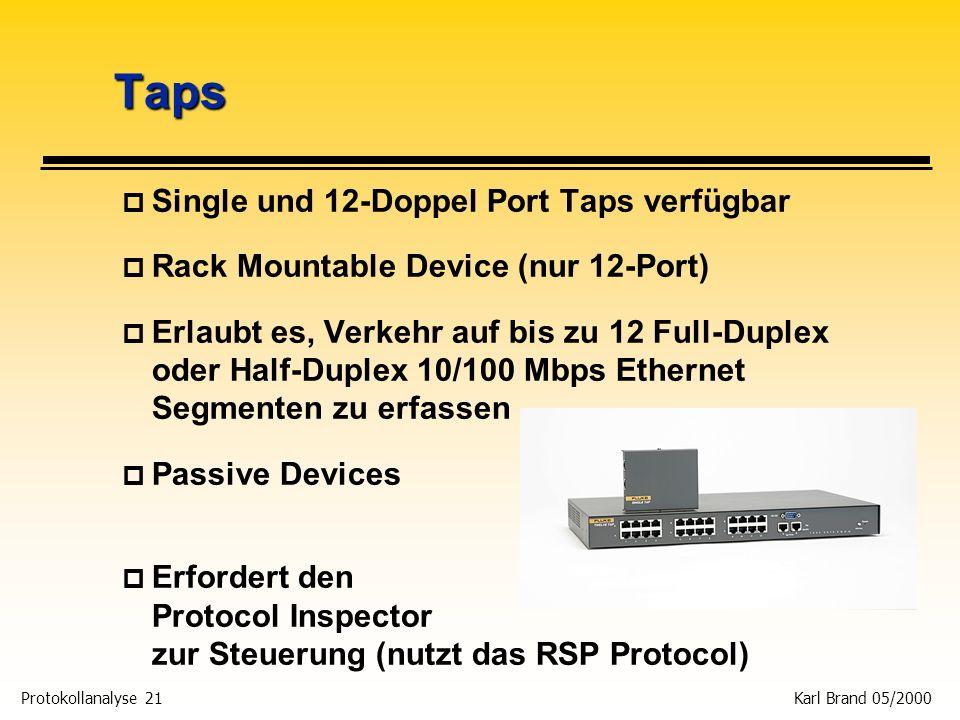Protokollanalyse 21 Karl Brand 05/2000 Taps p Single und 12-Doppel Port Taps verfügbar p Rack Mountable Device (nur 12-Port) p Erlaubt es, Verkehr auf