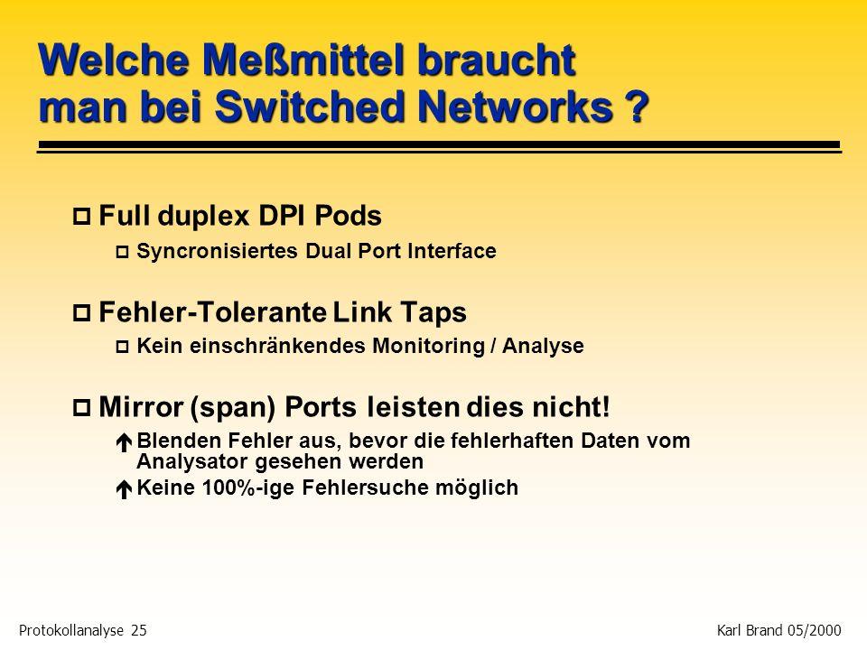 Protokollanalyse 25 Karl Brand 05/2000 Welche Meßmittel braucht man bei Switched Networks ? p Full duplex DPI Pods p Syncronisiertes Dual Port Interfa