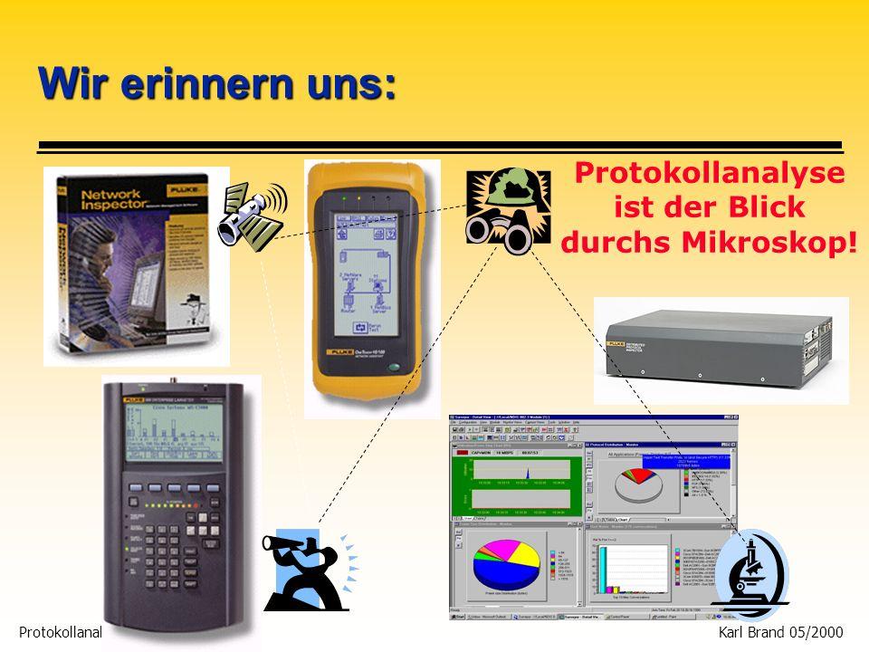 Protokollanalyse 34 Karl Brand 05/2000 Beispiel: Messen an einer Server to Switch Verbindung DPI Server A Switch B Tap B port Tap A port Port A Port B Full Duplex Tap Straight-thru cable MDIX MDI Straight-thru cables MDI MDIX MDI MDIX