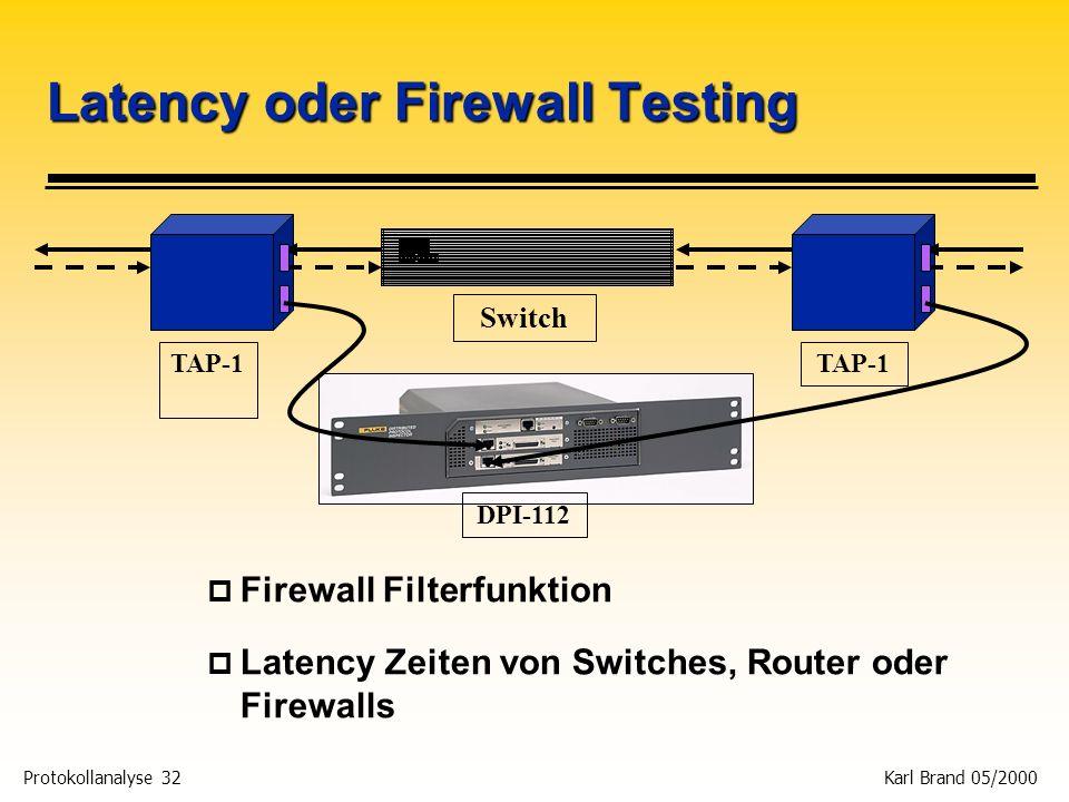 Protokollanalyse 32 Karl Brand 05/2000 Latency oder Firewall Testing p Firewall Filterfunktion p Latency Zeiten von Switches, Router oder Firewalls TA