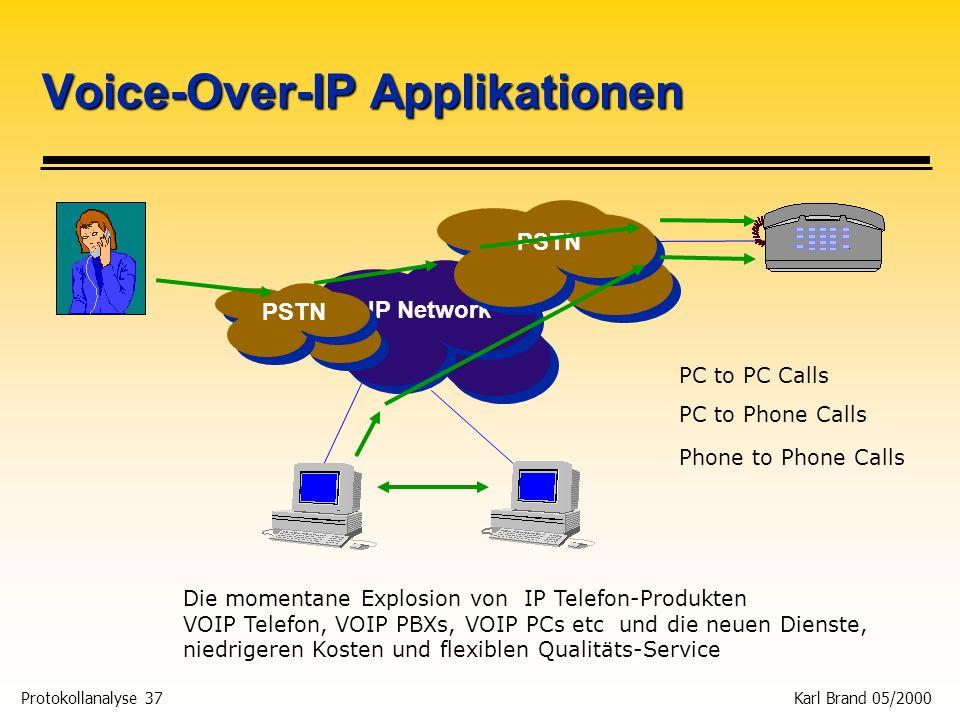 Protokollanalyse 37 Karl Brand 05/2000 IP Network Die momentane Explosion von IP Telefon-Produkten VOIP Telefon, VOIP PBXs, VOIP PCs etc und die neuen