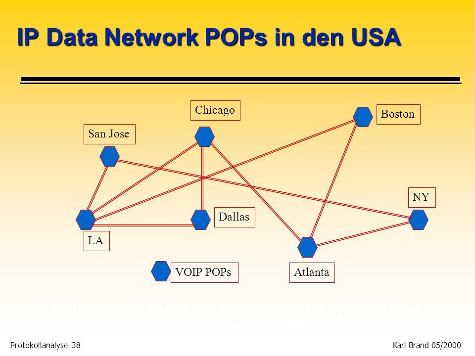 Protokollanalyse 38 Karl Brand 05/2000 IP Data Network POPs in den USA VOIP POPs San Jose LA Chicago Dallas Atlanta Boston NY IP Telephony POPs are in