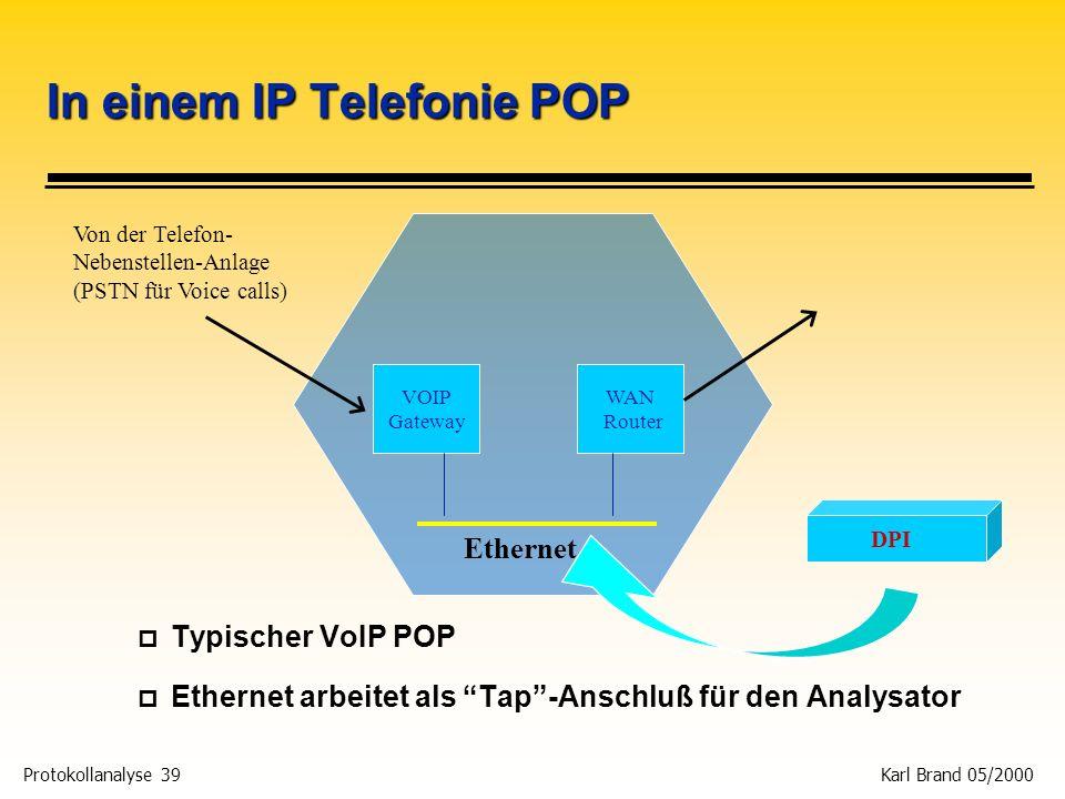 Protokollanalyse 39 Karl Brand 05/2000 In einem IP Telefonie POP p Typischer VoIP POP p Ethernet arbeitet als Tap-Anschluß für den Analysator VOIP Gat