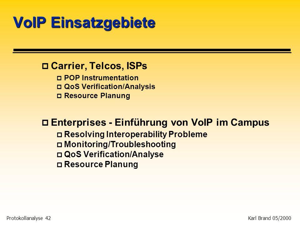 Protokollanalyse 42 Karl Brand 05/2000 VoIP Einsatzgebiete p Carrier, Telcos, ISPs p POP Instrumentation p QoS Verification/Analysis p Resource Planun