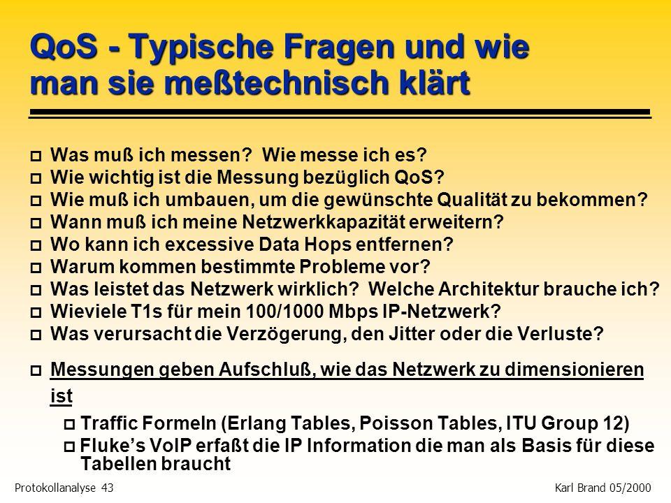 Protokollanalyse 43 Karl Brand 05/2000 QoS - Typische Fragen und wie man sie meßtechnisch klärt p Was muß ich messen? Wie messe ich es? p Wie wichtig