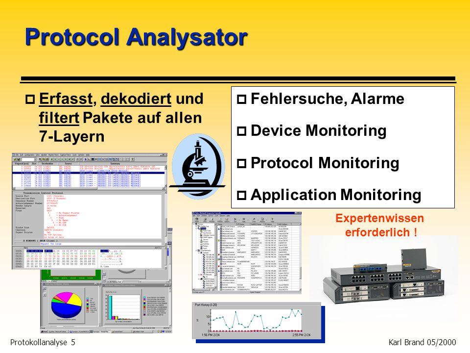 Protokollanalyse 5 Karl Brand 05/2000 Protocol Analysator p Erfasst, dekodiert und filtert Pakete auf allen 7-Layern p Fehlersuche, Alarme p Device Mo