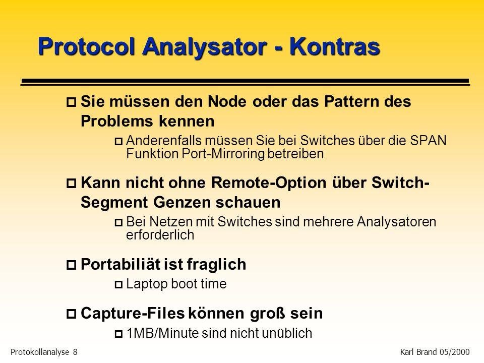 Protokollanalyse 39 Karl Brand 05/2000 In einem IP Telefonie POP p Typischer VoIP POP p Ethernet arbeitet als Tap-Anschluß für den Analysator VOIP Gateway WAN Router Von der Telefon- Nebenstellen-Anlage (PSTN für Voice calls) Ethernet DPI
