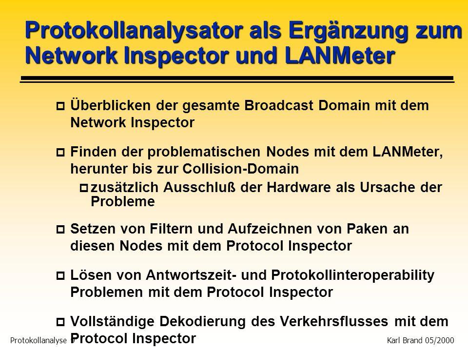Protokollanalyse 10 Karl Brand 05/2000 Die Fluke Protocol Inspector Familie p 3 Modelle (Capture, Decode, und Filter mit NDIS-NIC): p PI-100 Protocol Inspector Standard (Teil der SwitchVision Suite) p PIP-100 Protocol Inspector Pro (zusätzlich Experten- Modus, Remote-Control, Distributed PI, Traffic Generator, optional Voice over IP (VoIP)) p PIP-ENH (Erweiterung des PI-100 auf PIP-100) p DPI für p 10/100 Ethernet mit externen passiven Taps (HD / FD) p Gigabit Ethernet p Produkt Linie designed für Switched Networks p Taps