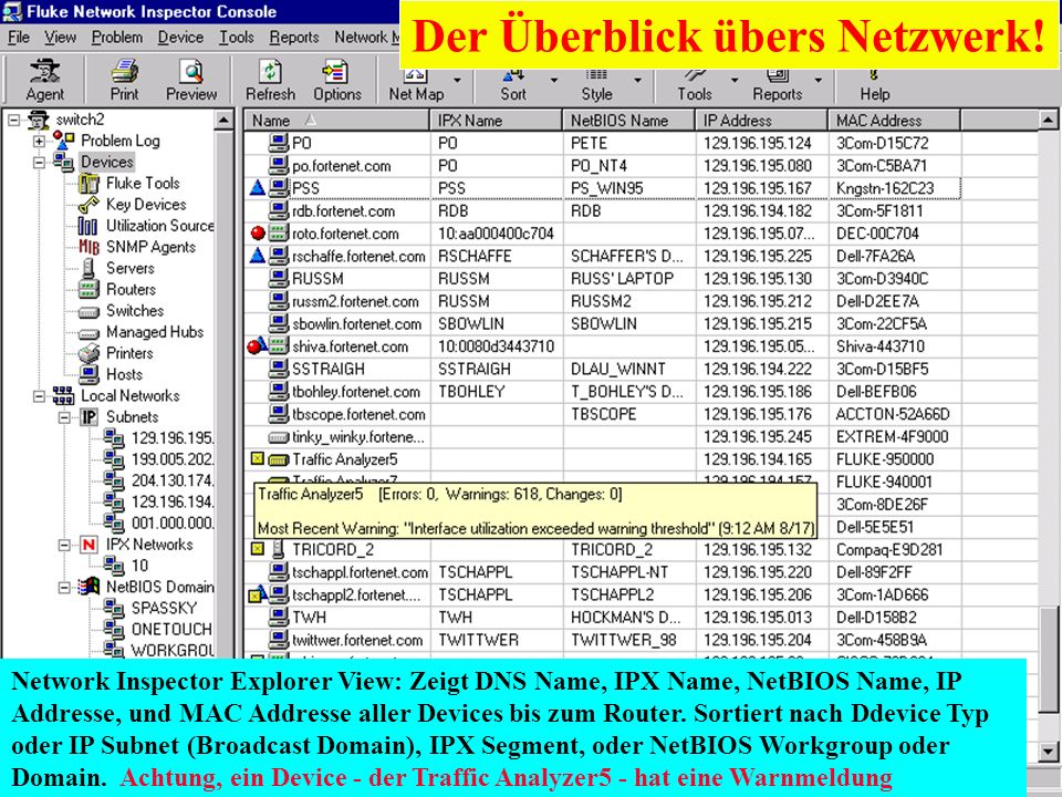 Karl Brand 05/2000 Switch Vision Suite 18 Network Inspector Explorer View: Zeigt DNS Name, IPX Name, NetBIOS Name, IP Addresse, und MAC Addresse aller
