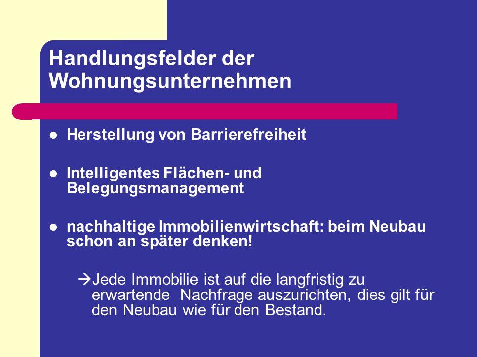 Handlungsfelder der Wohnungsunternehmen Herstellung von Barrierefreiheit Intelligentes Flächen- und Belegungsmanagement nachhaltige Immobilienwirtscha