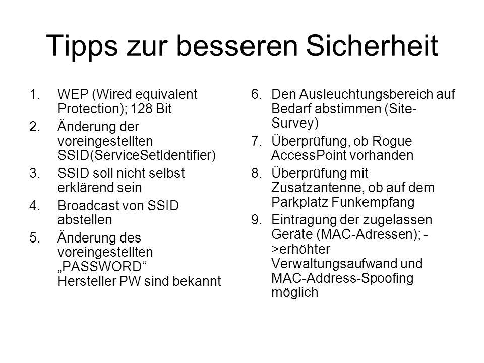 Tipps zur besseren Sicherheit 1.WEP (Wired equivalent Protection); 128 Bit 2.Änderung der voreingestellten SSID(ServiceSetIdentifier) 3.SSID soll nicht selbst erklärend sein 4.Broadcast von SSID abstellen 5.Änderung des voreingestellten PASSWORD Hersteller PW sind bekannt 6.Den Ausleuchtungsbereich auf Bedarf abstimmen (Site- Survey) 7.Überprüfung, ob Rogue AccessPoint vorhanden 8.Überprüfung mit Zusatzantenne, ob auf dem Parkplatz Funkempfang 9.Eintragung der zugelassen Geräte (MAC-Adressen); - >erhöhter Verwaltungsaufwand und MAC-Address-Spoofing möglich