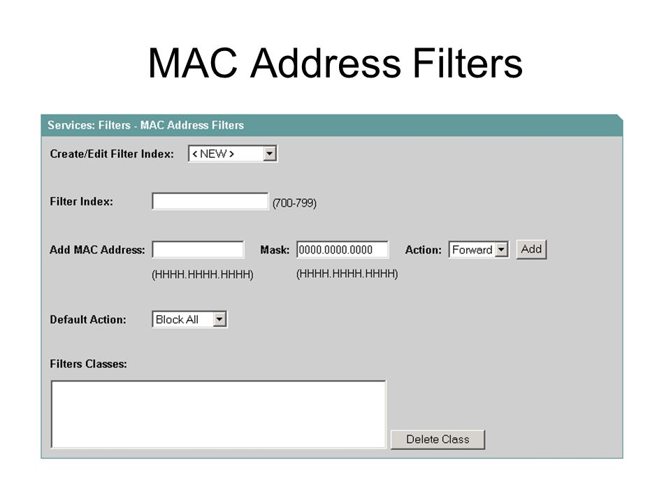 MAC Address Filters