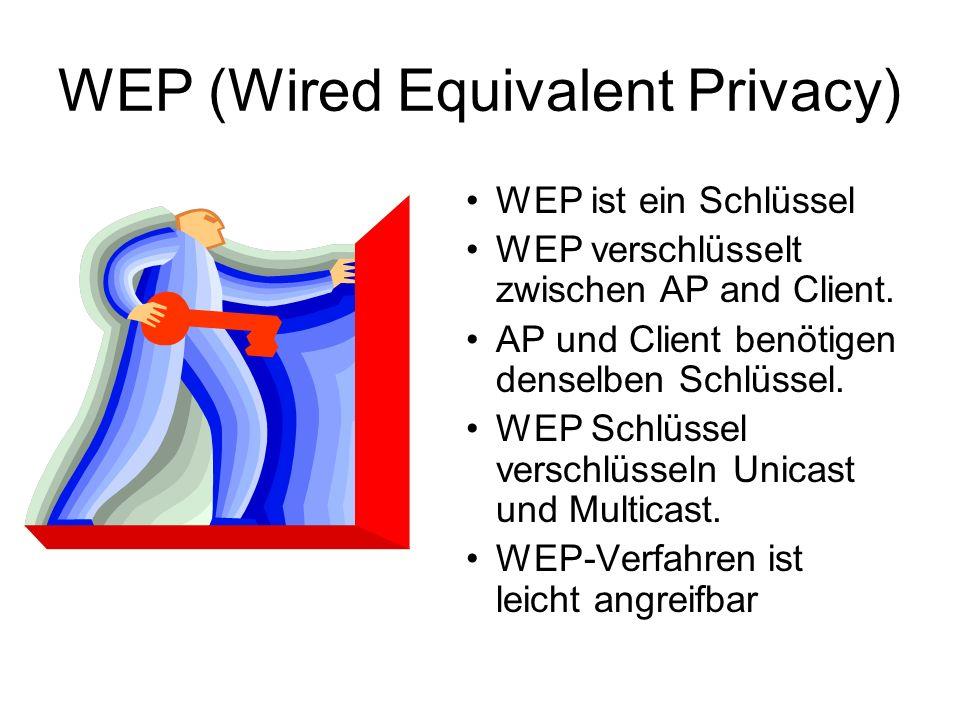 WEP (Wired Equivalent Privacy) WEP ist ein Schlüssel WEP verschlüsselt zwischen AP and Client.