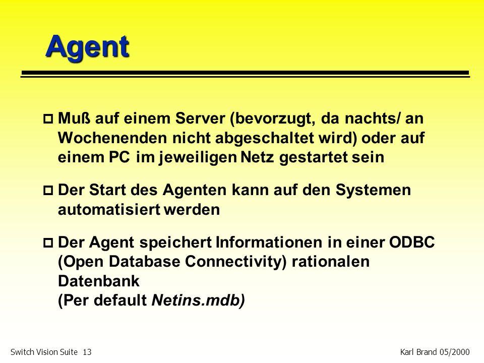 Karl Brand 05/2000 Switch Vision Suite 13 Agent p Muß auf einem Server (bevorzugt, da nachts/ an Wochenenden nicht abgeschaltet wird) oder auf einem P