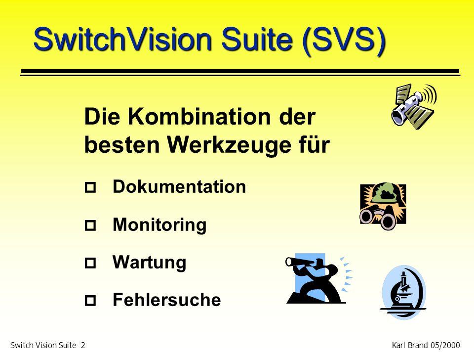 Karl Brand 05/2000 Switch Vision Suite 33 NI: Beispiel 1 p Technischer Vertrieb (wie bei Fluke), DHCP und File Services, 300 PCs am Netz, Downzeit von ca.