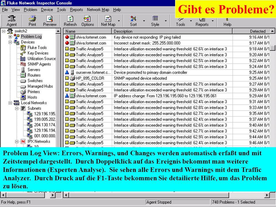 Karl Brand 05/2000 Switch Vision Suite 21 Problem Log View: Errors, Warnings, und Changes werden automatisch erfaßt und mit Zeitstempel dargestellt. D